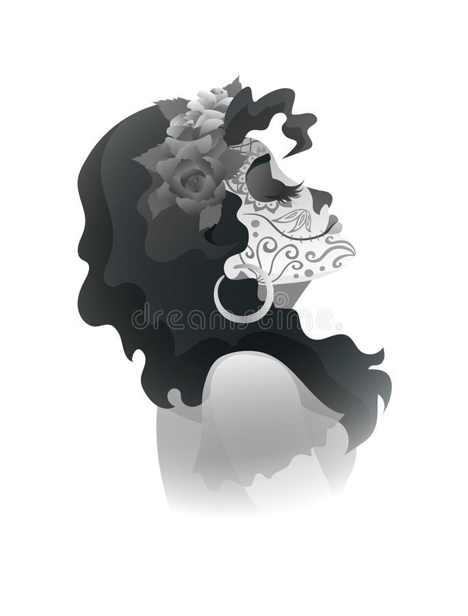Woman with sugar skull makeup and wreath of roses royalty free illustration