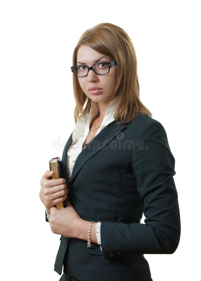 Woman in a suit stock photo