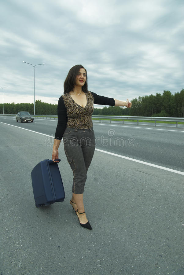 Download Woman with suitcase stock image. Image of beautiful, lady - 18343731