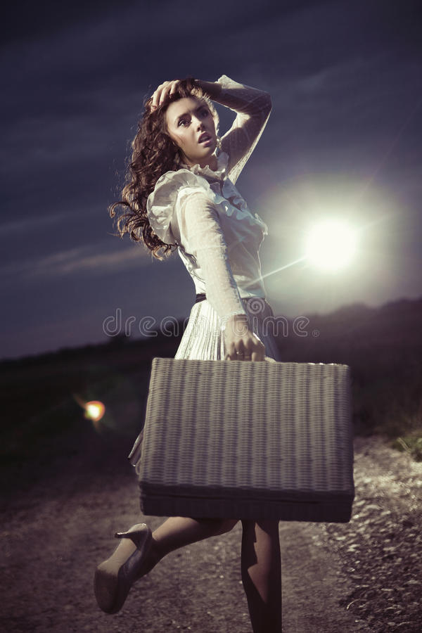 Download Woman with suitcase stock photo. Image of emotion, nature - 26940016