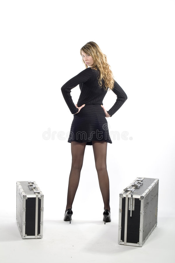 Download Woman with suitcase stock image. Image of dress, isolated - 7210307