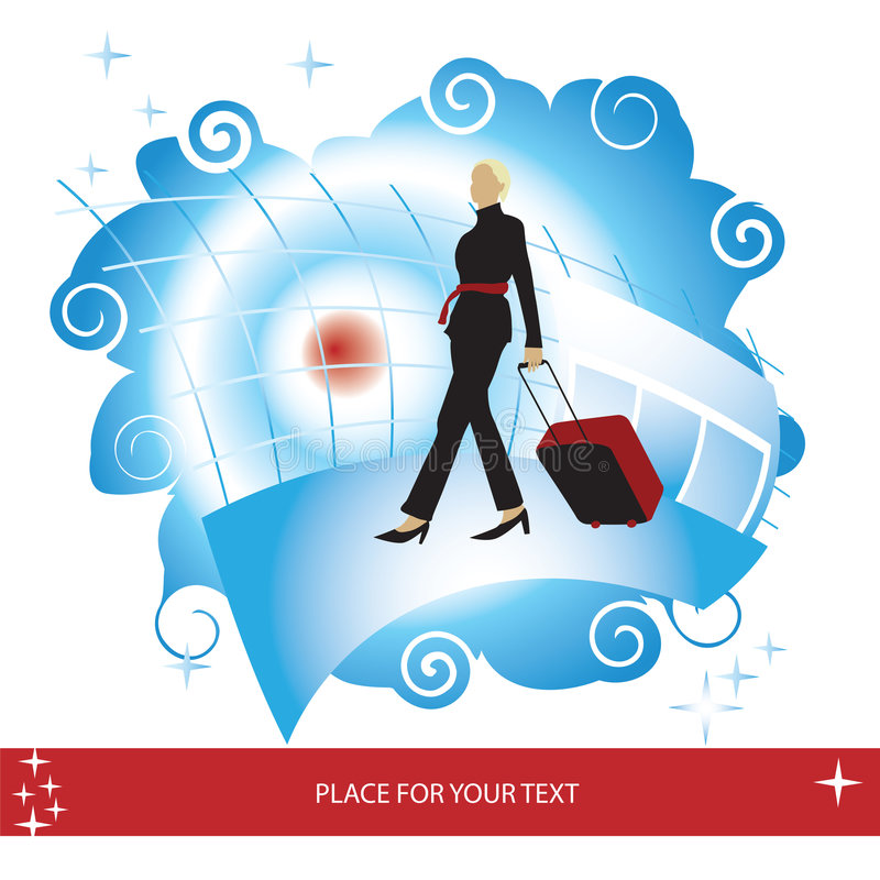 Download Woman With Suitcase At The Air Stock Vector - Image: 4289032