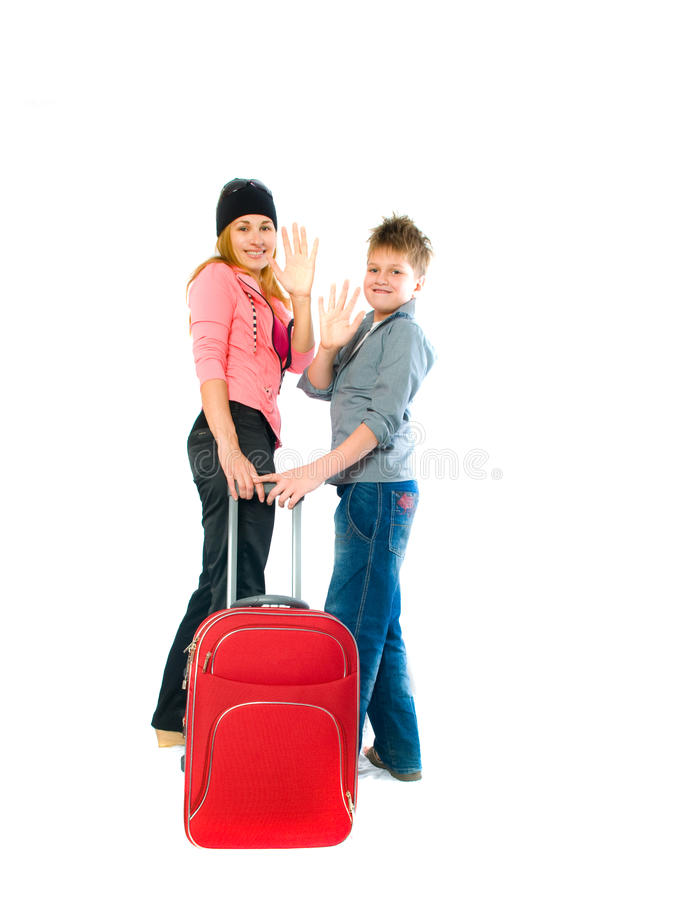 Woman with a suitcase. Isolation on the white royalty free stock images