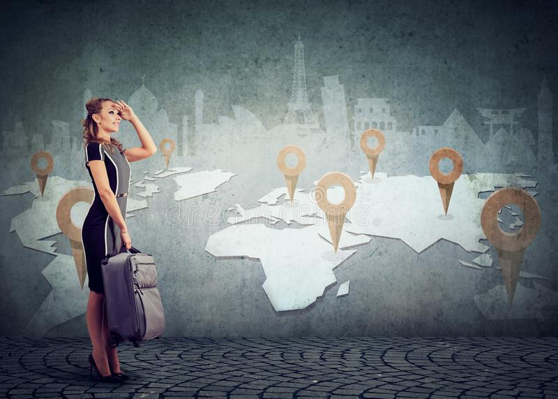 Download Woman With Suitcase Ready To Explore The World On Landmarks Map Background Stock Photo - Image of around, interest: 99465008