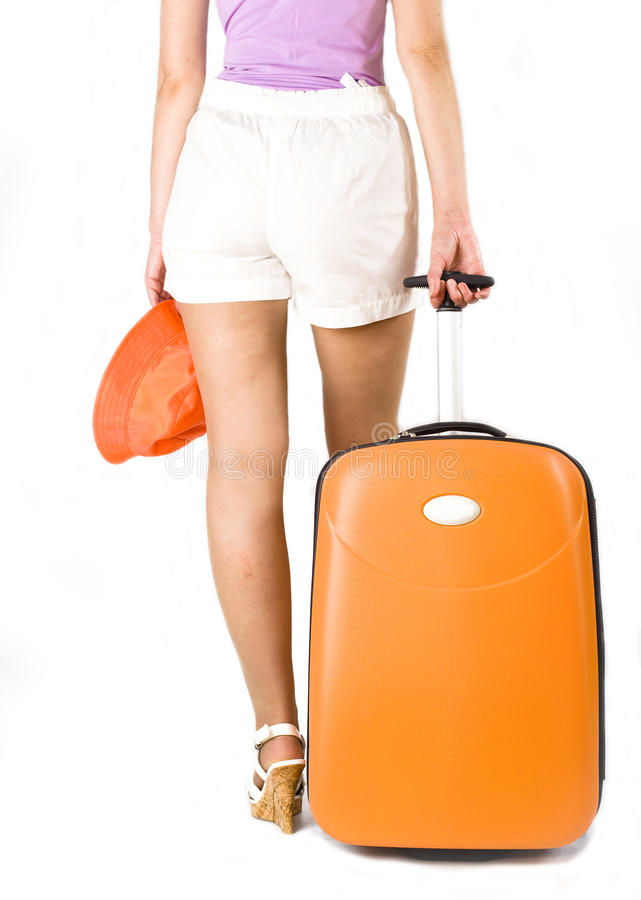 Woman With Suitcase For Travels Royalty Free Stock Image