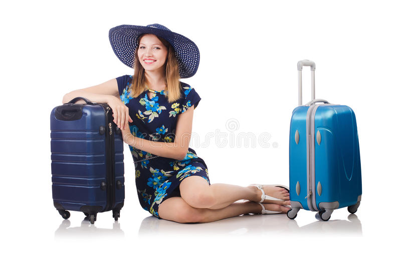 Download Woman with suitcases stock image. Image of suitcase, case - 34468895