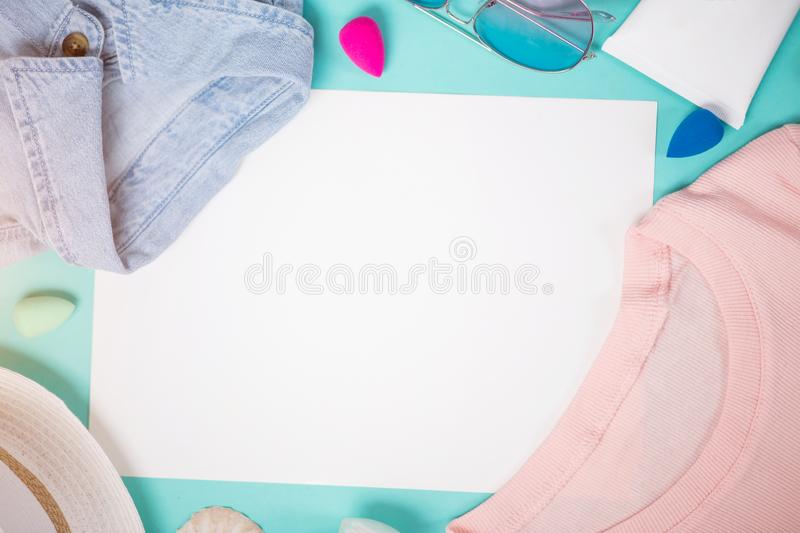 Woman summer clothes and accessories stock photos