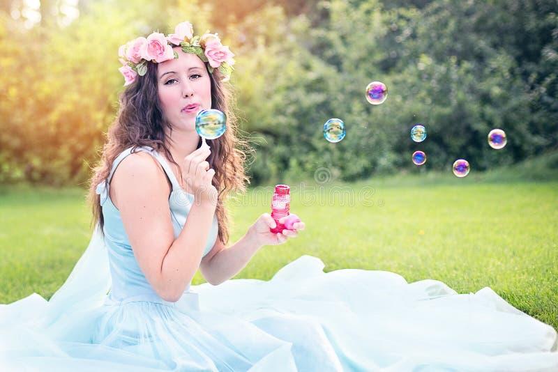 Woman In Summer Dress Blowing Bubbles Free Public Domain Cc0 Image