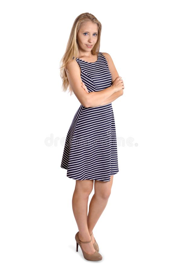 Woman summer dress standing whole full body. Woman in summer dress whole body shoot stock photo