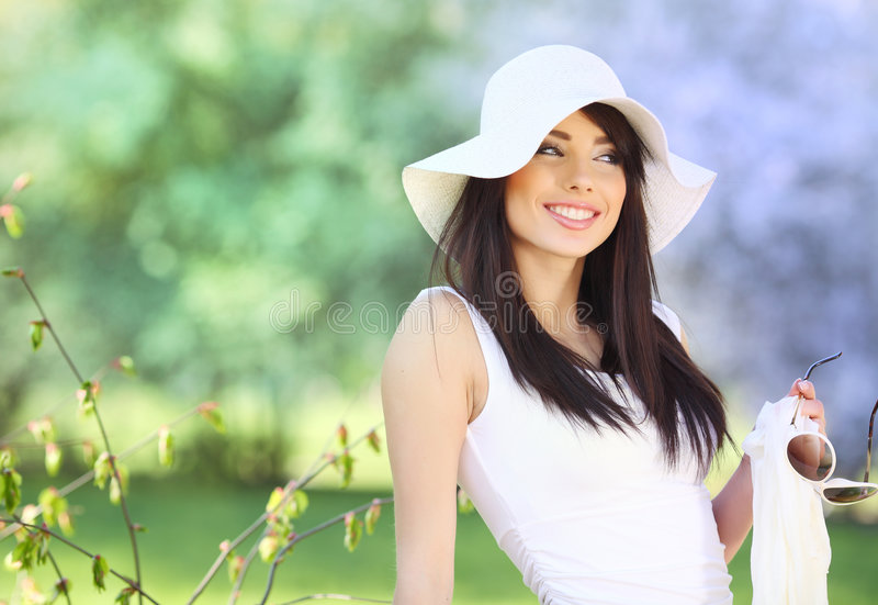 Woman in summer park. royalty free stock photo