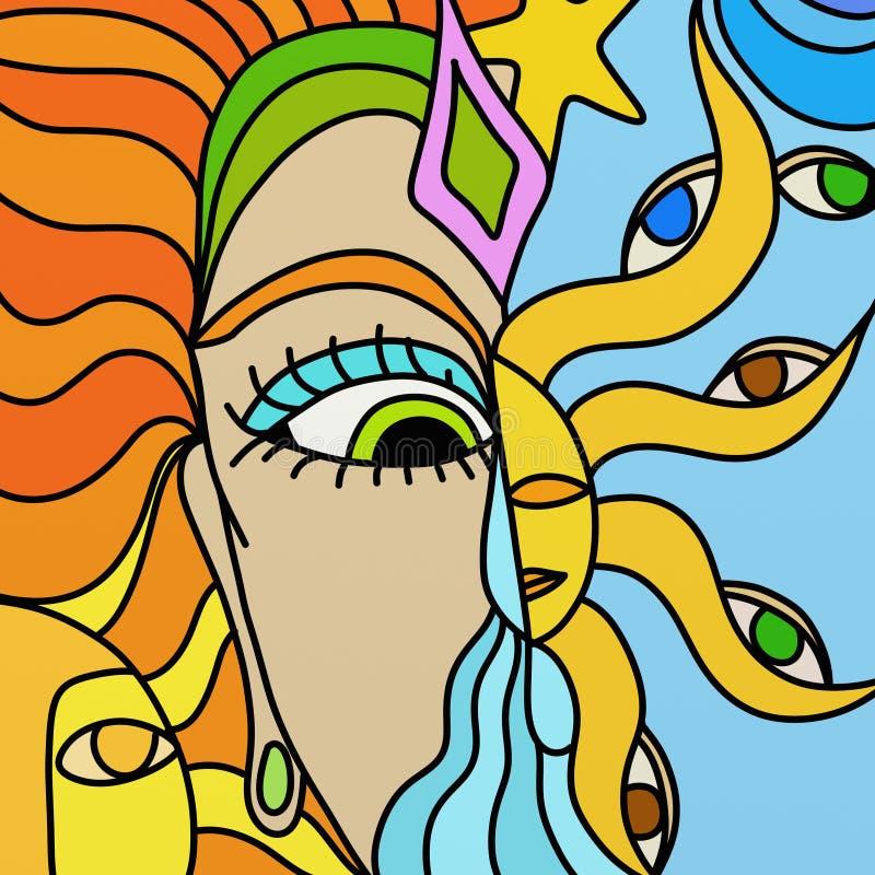 Woman and sun stock illustration