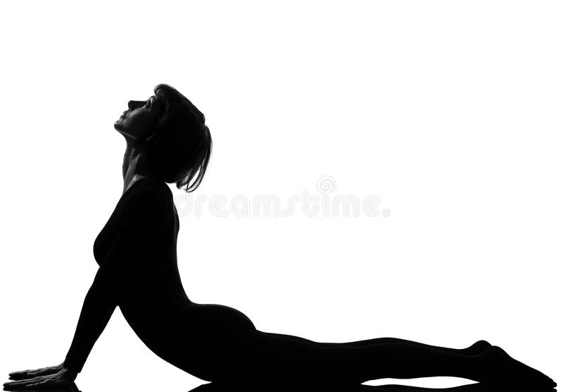 Woman sun salutation yoga surya namaskar cobra. Woman sun salutation yoga surya namaskar posture cobra pose in silouhette on studio white background full length royalty free stock images