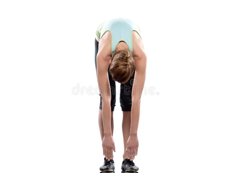 Woman sun salutation yoga surya namaskar pose workout royalty free stock photography