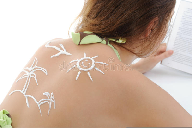 Download Woman With Sun-shaped Sun Cream Stock Image - Image: 18383589