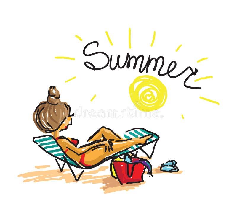 Woman sunbathing on beach. Trendy hand drawing doodle vector ilustration stock illustration