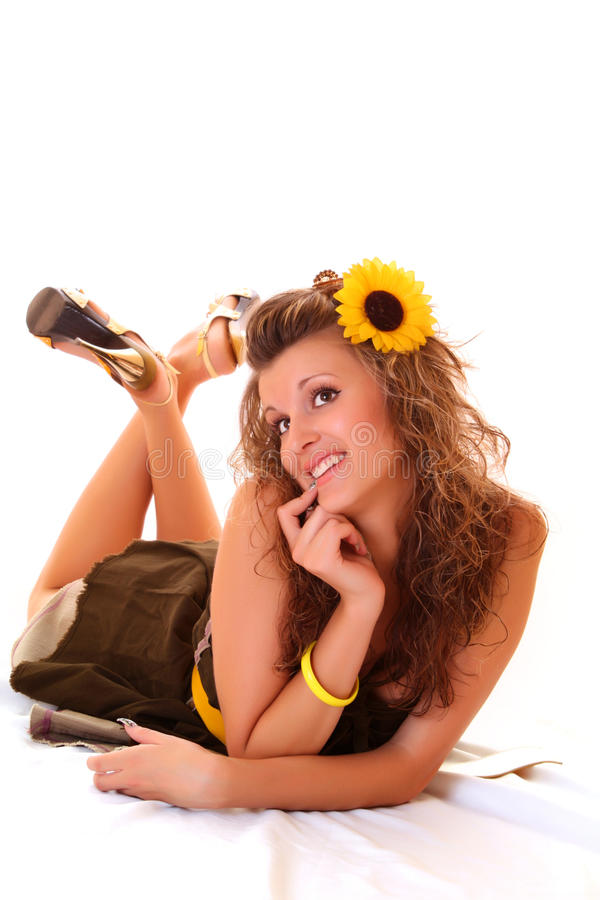 Woman with sunflower stock image