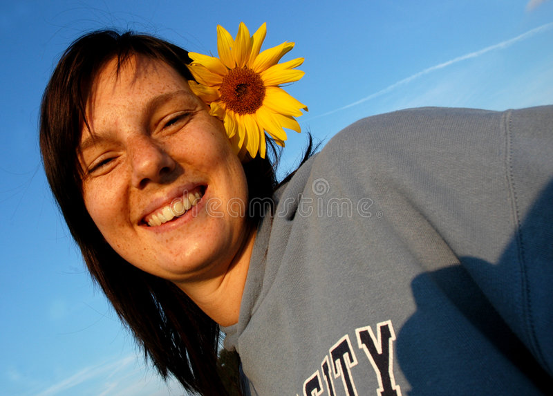 Download Woman With Sunflower In Hair Stock Image - Image: 1153461