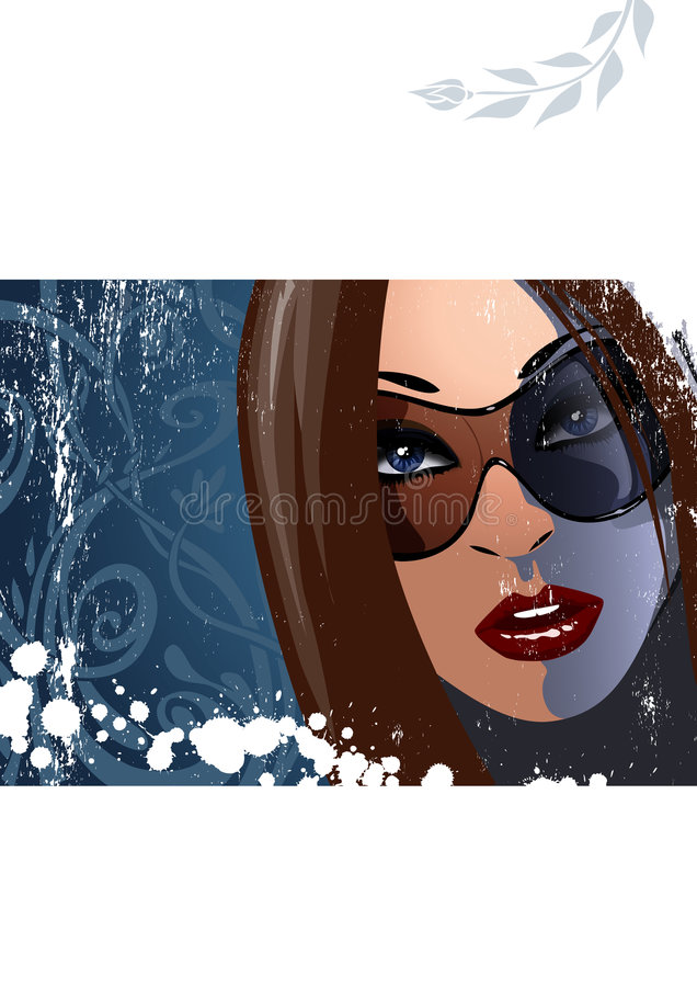 Download Woman with sunglasses 2 stock illustration. Image of blue - 7577463