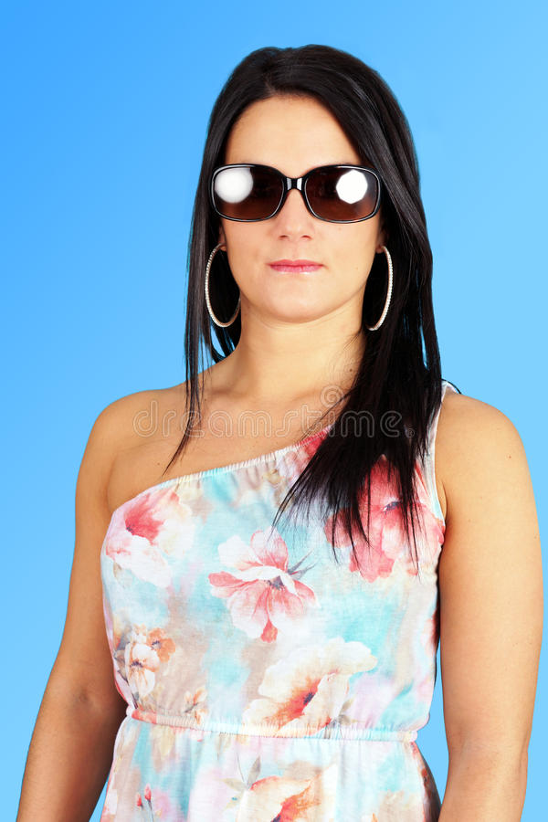 Woman with sunglasses royalty free stock photography