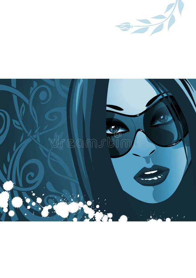 Woman With Sunglasses In Blue Royalty Free Stock Photo