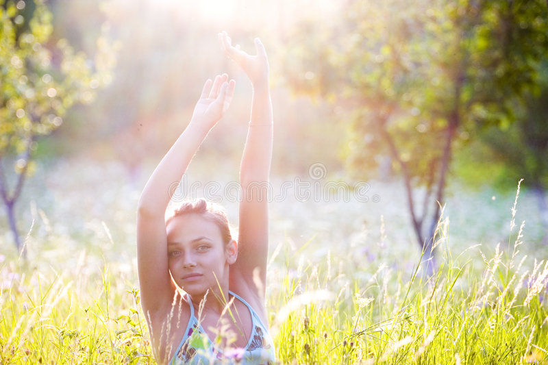 Woman in sunlight royalty free stock images
