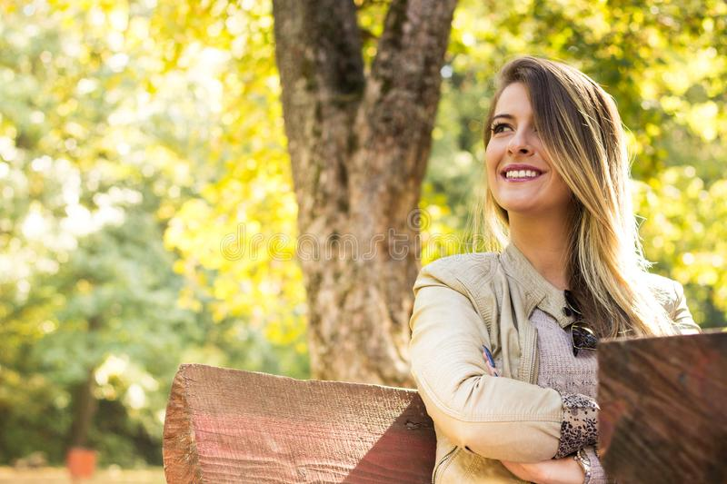 Woman sunny nature portrait royalty free stock photo