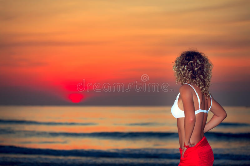 Woman At Sunrise Time Stock Images