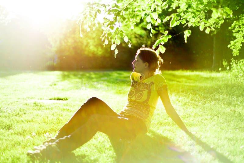 Woman at sunset royalty free stock image