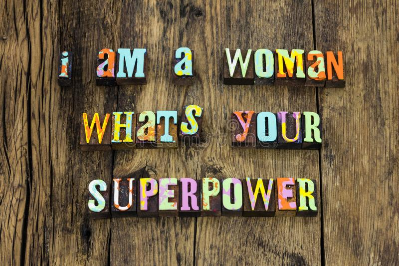 Woman super power female respect girl letterpress royalty free stock photography