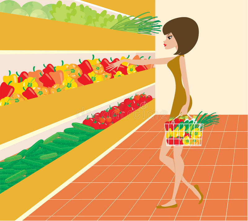 Woman in a supermarket stock illustration