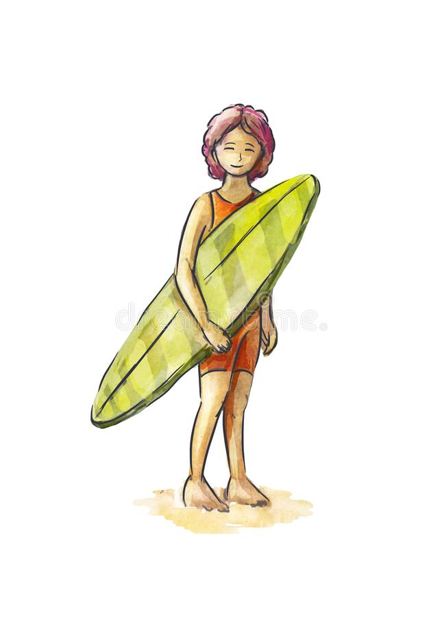 Woman surfer stands with a board in his hands. Character isolated on white. Watercolor sketch. Pretty woman surfer with surfboard in a sporting suit standing on stock illustration