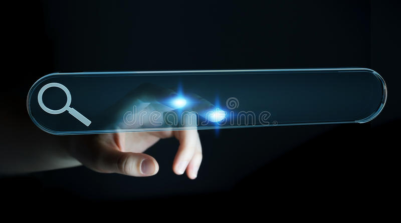 Woman surfing on internet using tactile web address bar 3D rendering. Woman using tactile interface web address bar to surf on internet 3D rendering stock illustration