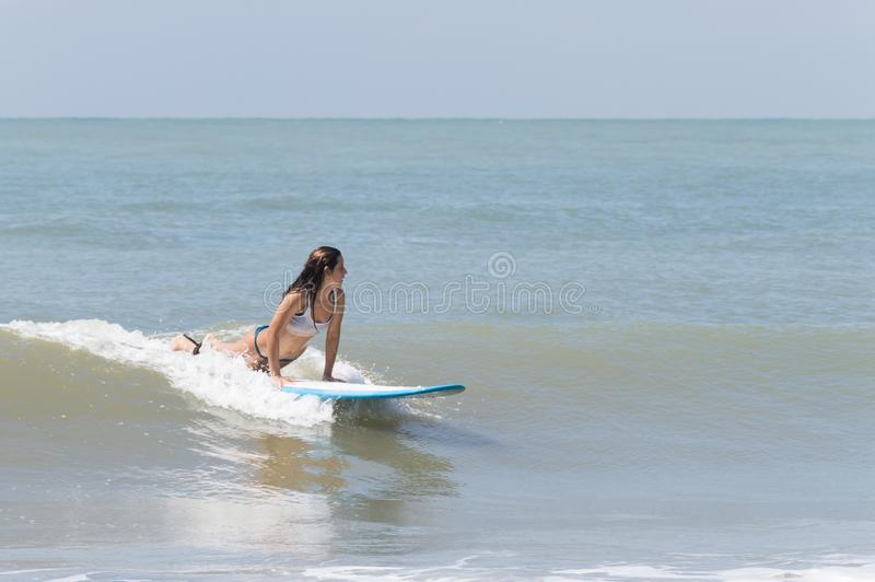 Woman surfing a longboard royalty free stock photography