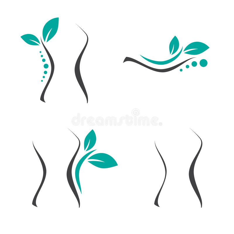 Woman Surgery and Chiropractic Set. Woman Surgery and Chiropractic Logo Set stock illustration