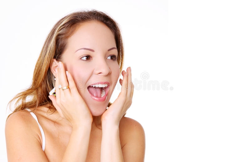 Woman surprise royalty free stock photos