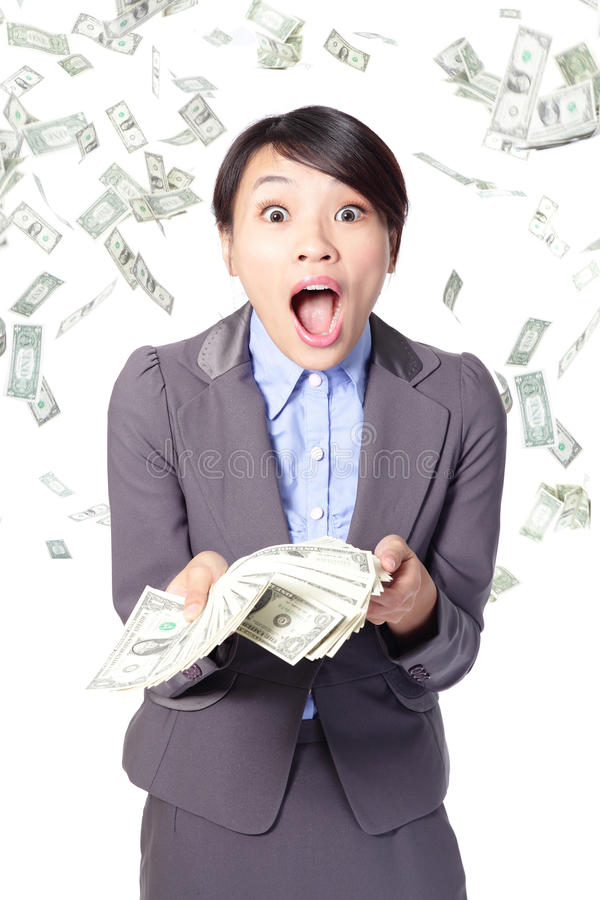 Woman surprised face with falling money