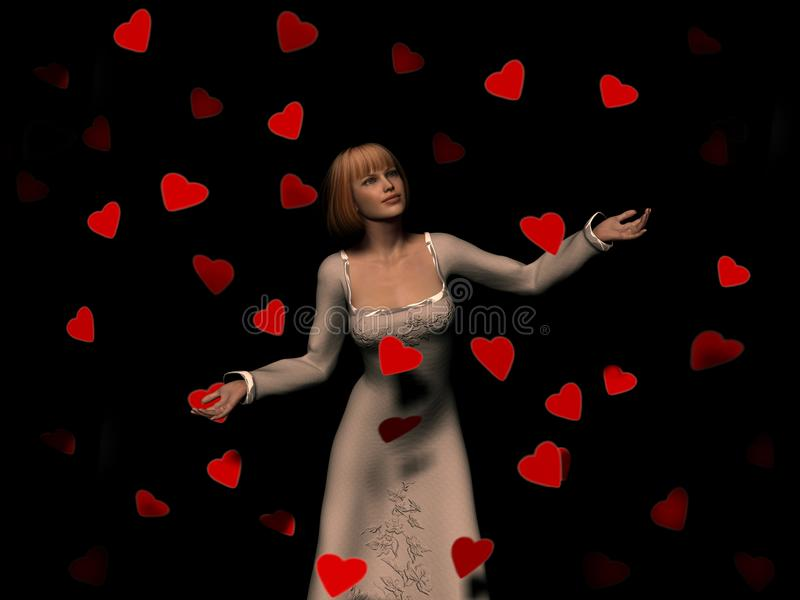Woman surrounded by falling hearts