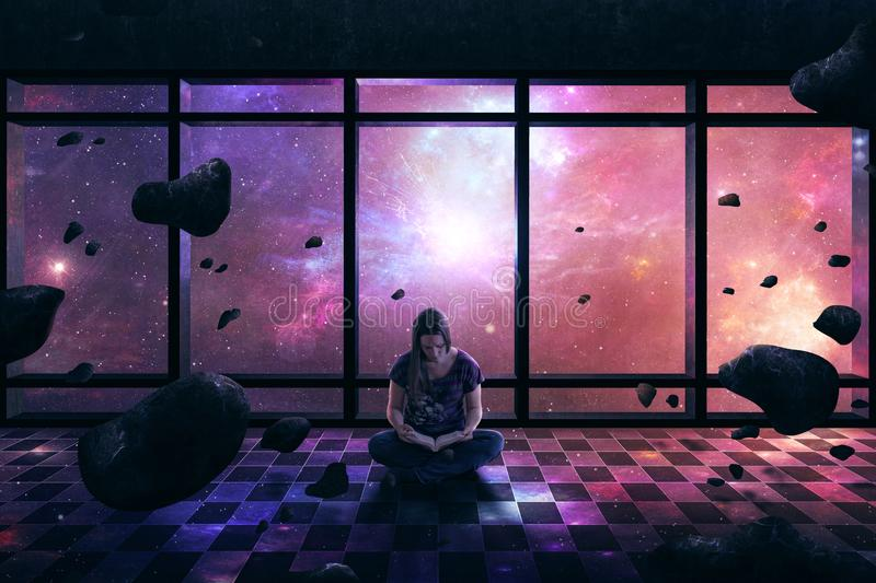 Woman surrounded by space stock image