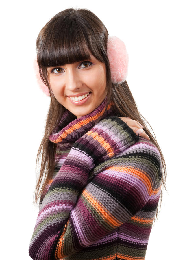 Woman in sweater portrait royalty free stock photo