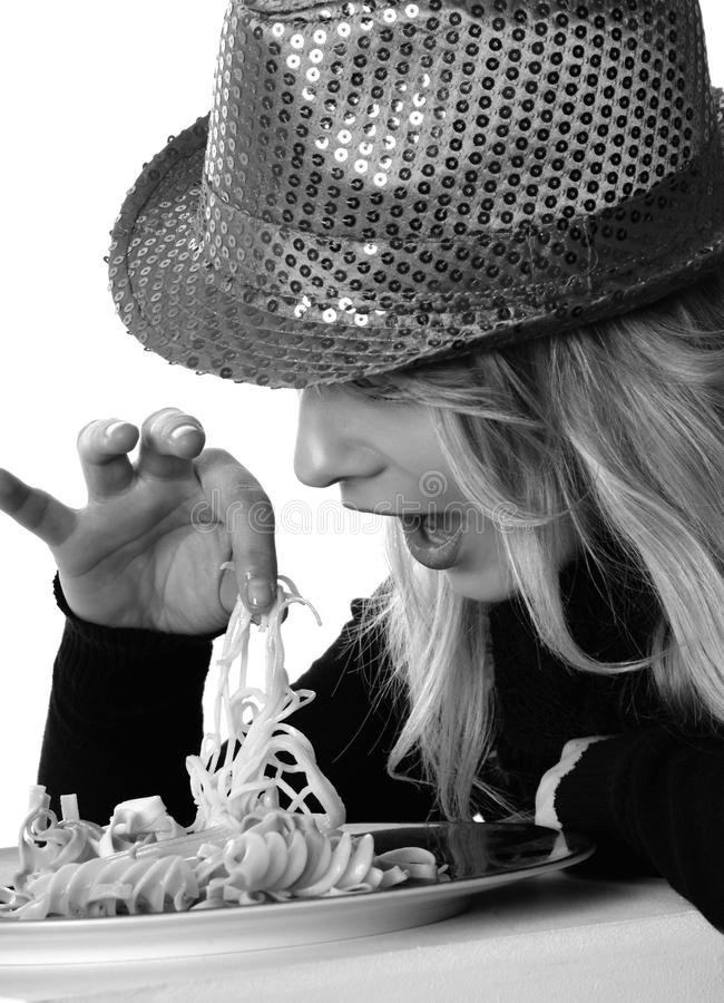 Woman In Sweater And Sequin Fedora Hat Holding Noodles In Grayscale Photography Free Public Domain Cc0 Image