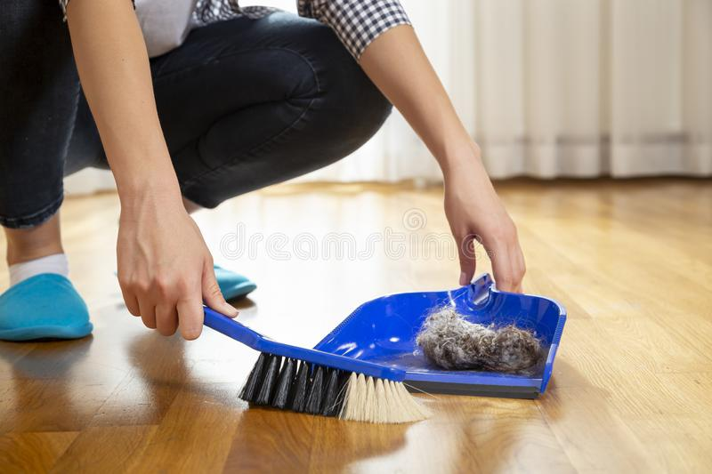 Woman sweeping floor and collecting dust onto a dustpan. Detail of female hands holding a broom and sweeping floor, collecting dust onto a dustpan royalty free stock photo