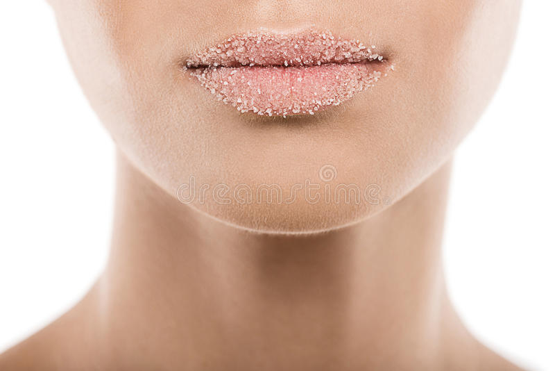 Woman with sweet sugar lips, isolated on white. Cropped view of woman with sweet sugar lips, isolated on white stock photos