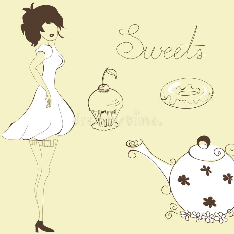 Download Woman with sweets stock vector. Image of restaurant, menu - 17275145