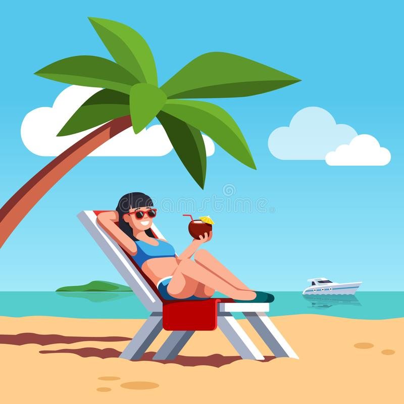 Woman in swimsuit sunbathing at sea beach. Woman in swimsuit sunbathing lying on lounger at sea or ocean beach. Beautiful girl drinking coconut cocktail relaxing stock illustration