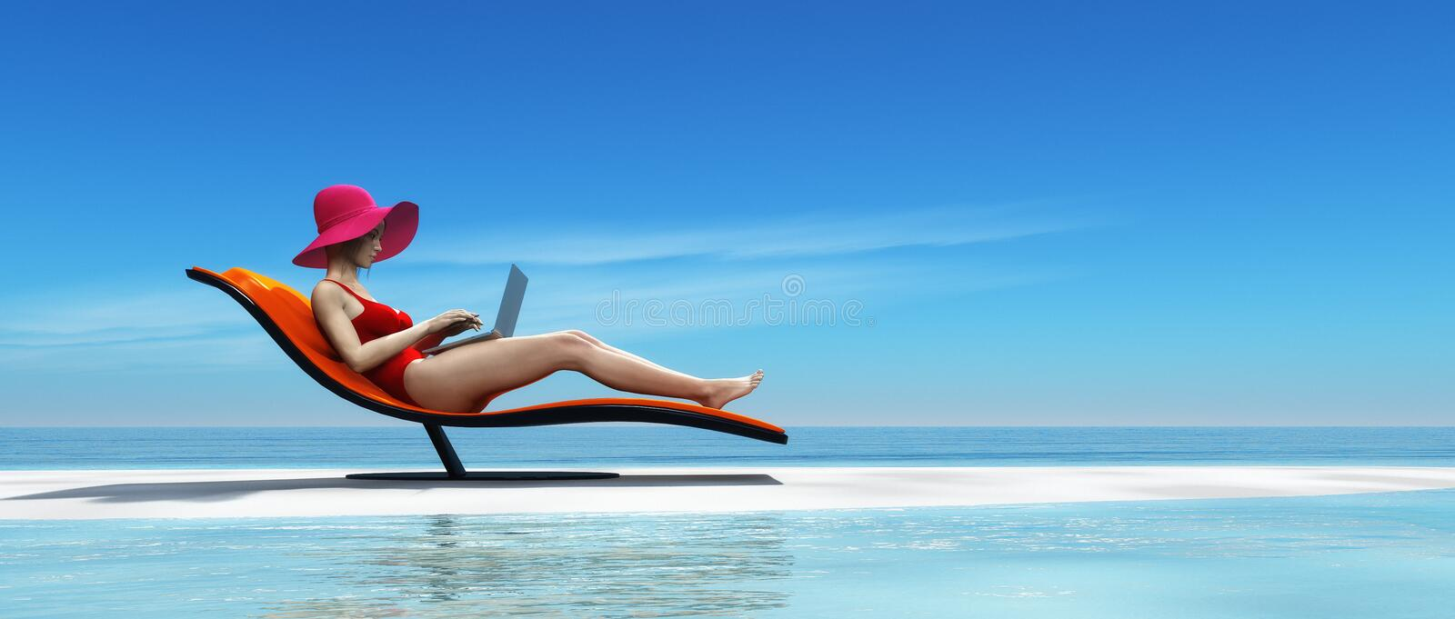 Woman in swimsuit using a laptop royalty free stock photo