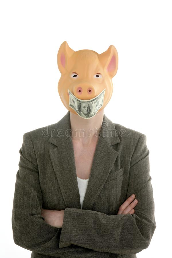 Download Woman With Swine Face, Dollar Note Mask Stock Image - Image: 9447423