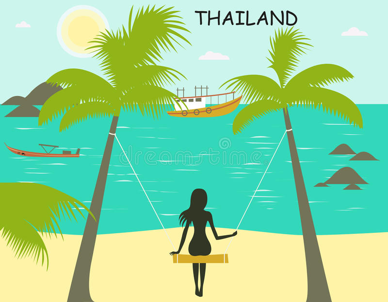 Woman on the swing in Thailand vector illustration