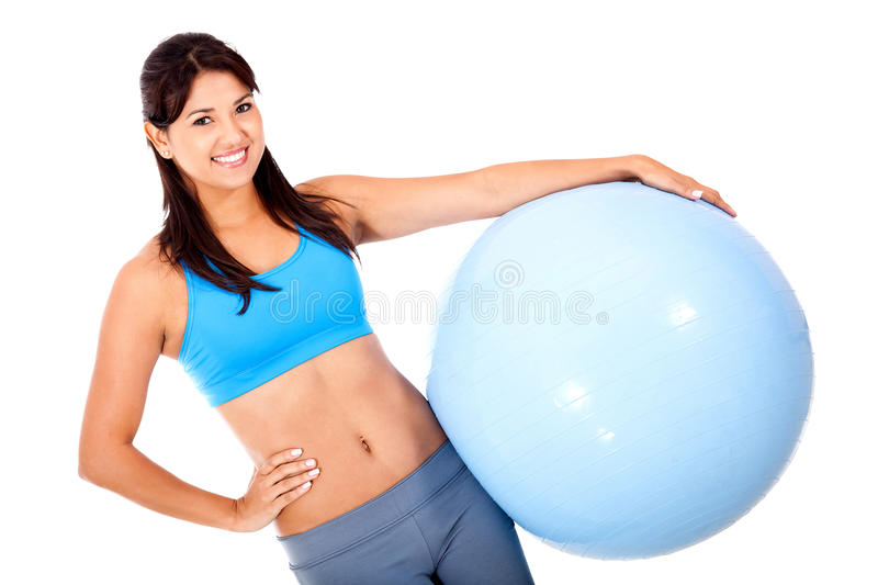 Download Woman with a Swiss ball stock photo. Image of exercise - 24482846