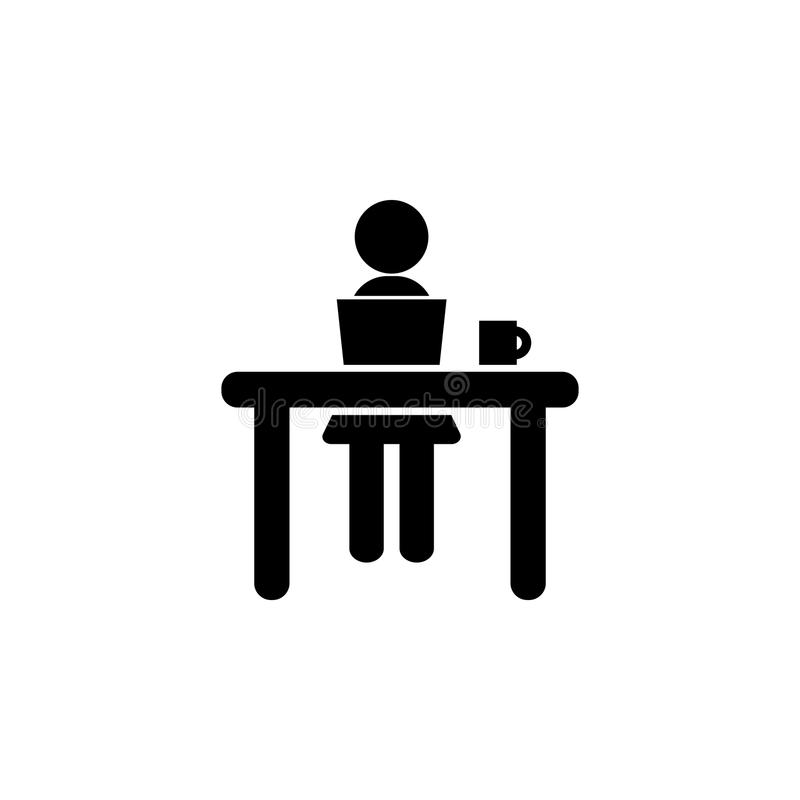 Woman on the table silhouette icon stock illustration