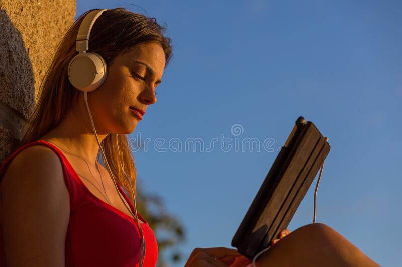 Woman with tablet royalty free stock image